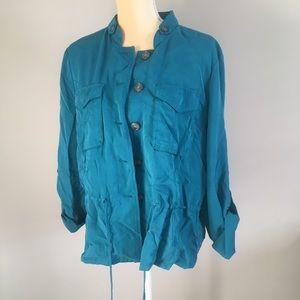 Whbm Womens Teal Drawstring Waist Shirt Size 14